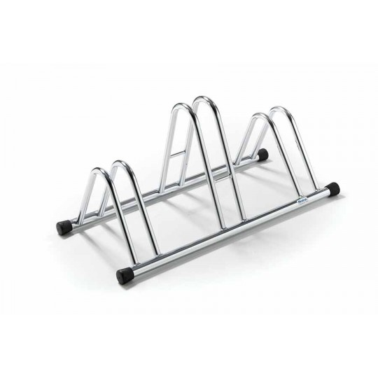 3-spaces grounded-based bike rack in galvanized steel.