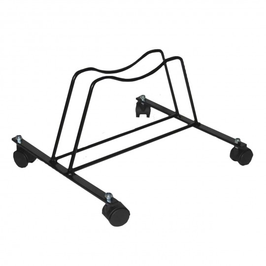 One space swivel grounded-based bike rack in black varnished steel - with castors