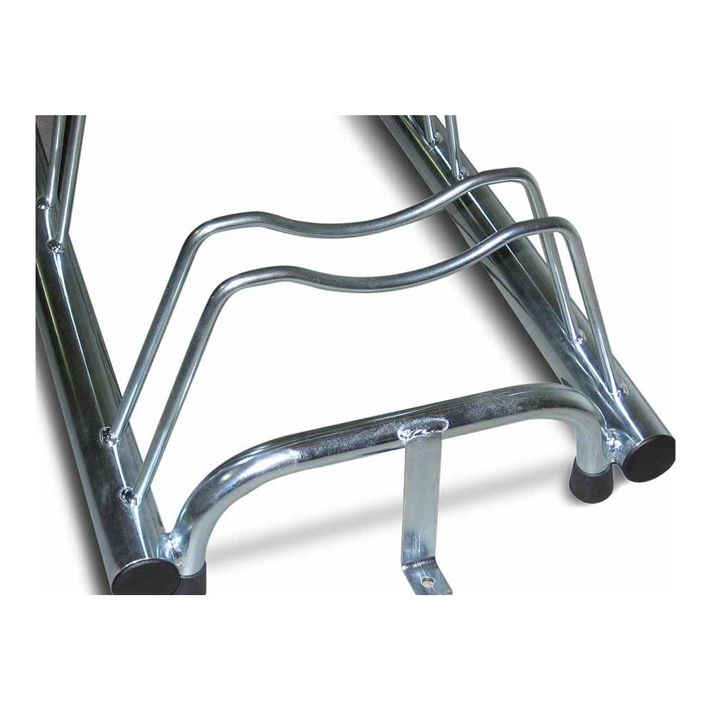 7 spaces grounded-based bike rack in stainless steel- with anchoring