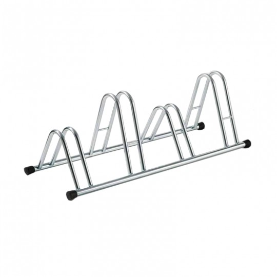 4-spaces grounded-based bike rack in galvanized steel.