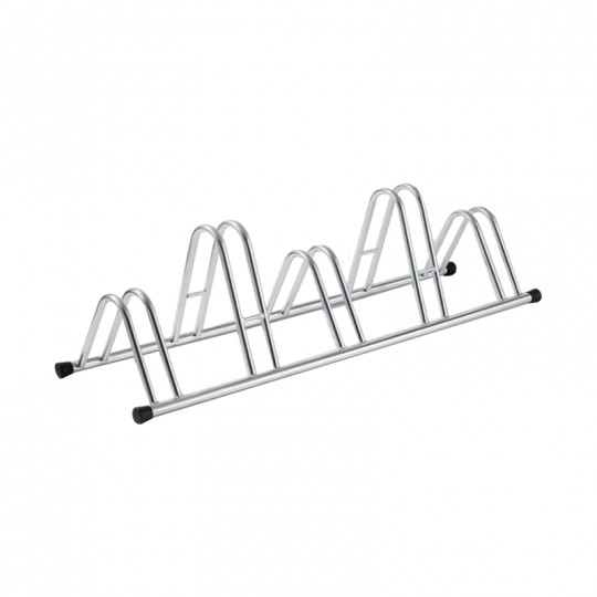 5-spaces grounded-based bike rack in galvanized steel.