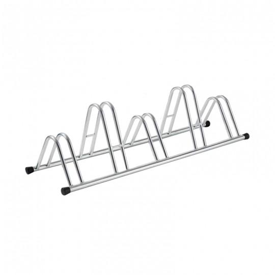 5-spaces grounded-based bike rack in galvanized steel.