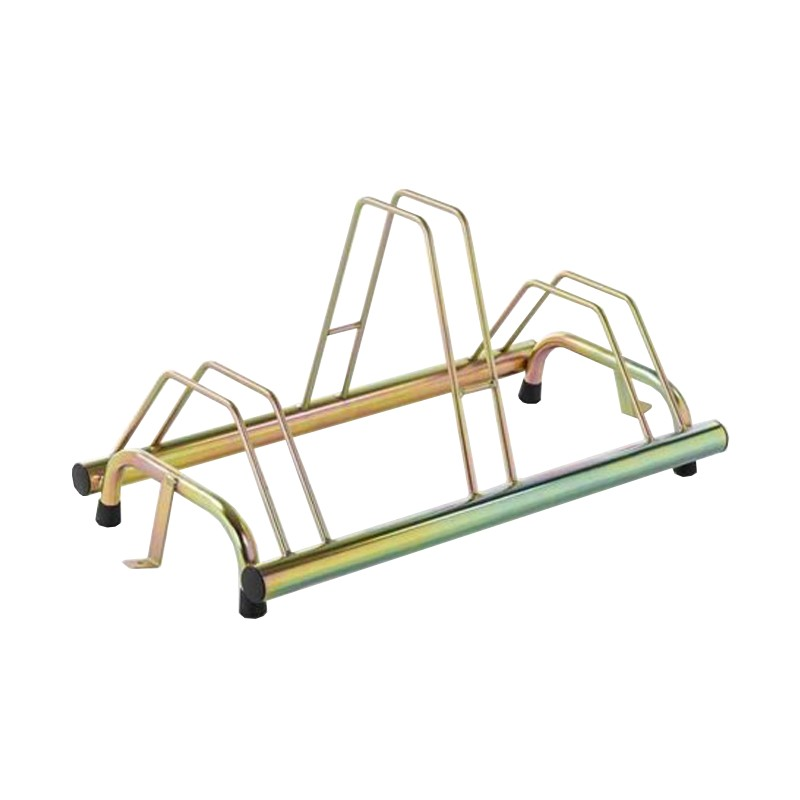 3 spaces grounded-based bike rack in galvanized steel