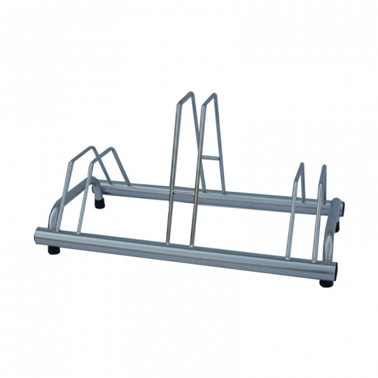 3 spaces grounded-based bike rack in stainless steel