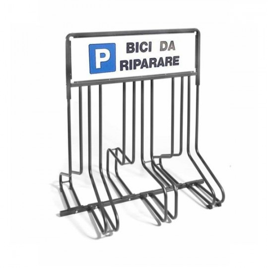 6 spaces grounded-based bike rack in galvanized steel- with advertisement pannels