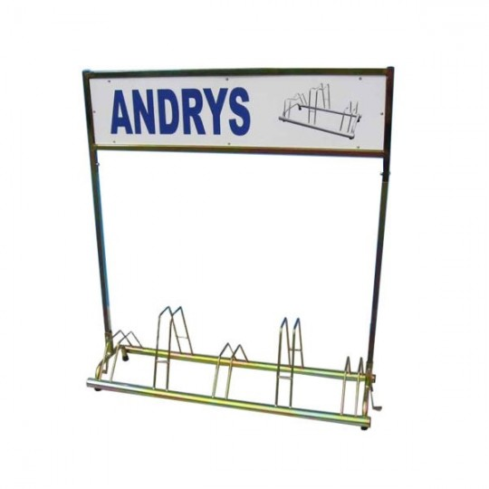 5 spaces grounded-based bike rack in galvanized steel- with advertisement pannels