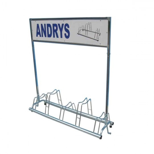 5 spaces grounded-based bike rack in galvanized steel- with advertisement pannels pubblicitario