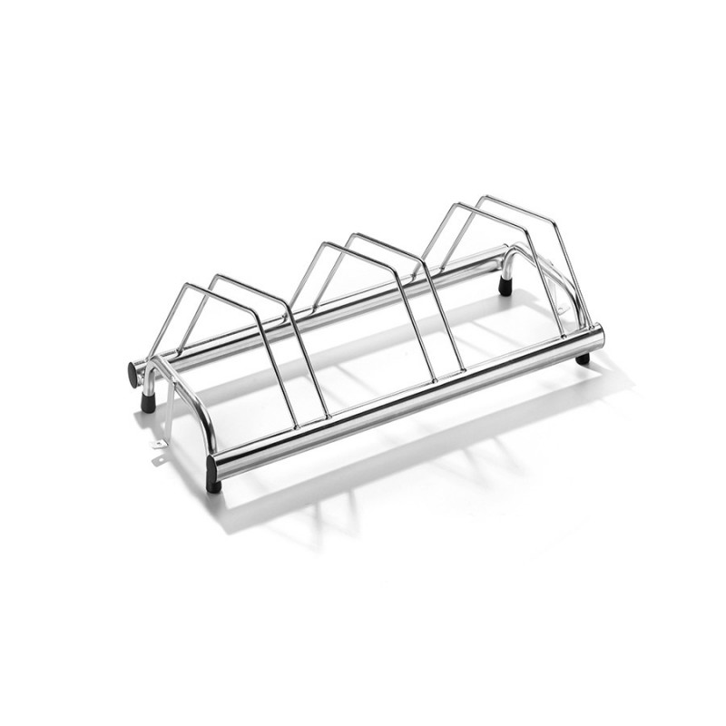 3 spaces grounded-based bike rack in galvanized steel